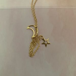 Gold star moon layering necklace